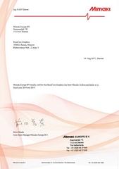 Сертификат авторизованного поставщика Mimaki в России в 2014 году